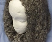 Angora Cowl, Luxurious, deliciously soft, decadent, hand spun, hand knit, broomstick lace, 100% black French Angora cowl