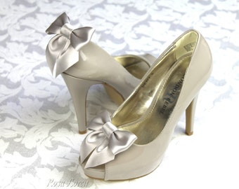 Light Gray Shoe Clip, Silver Grey Satin Bow Shoe Clips, Grey Wedding Accessories Shoes Clip
