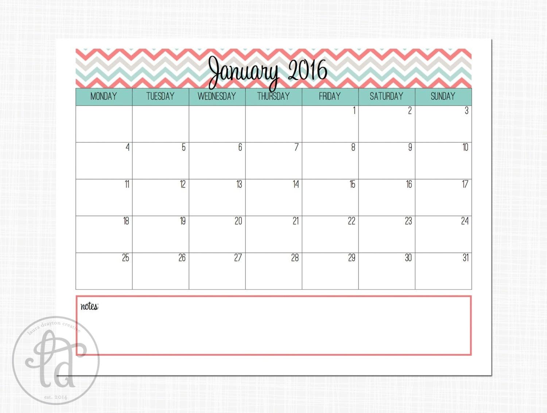 2015 2016 Aqua and Coral Chevron Calendar by LauraDraytonCreative