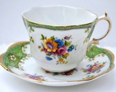 Floral Tea Cup, Royal Ardalt Teacup, Green and Gold Teacup, Bone China, Green and White China, Floral China