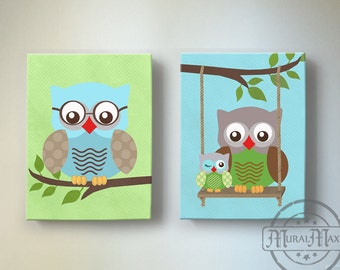 Owl Baby Nursery Wall Art, Owl Art, Owl Nursery Decor  - OWL canvas art, Owl Decor nursery art , Aqua Green