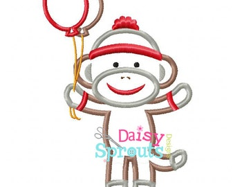 Sock Monkey Machine Applique Embroidery Instant Download