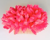 Hot Pink Pin-Up Double Flower Hair Comb - VilmaRocket