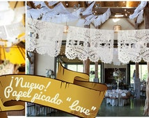 "15  lines / 150 flags Papel Picado ""LOVE"" Mexican Bunting Cut out paper for weddings (15 lines of 10 flags/ total 150 flags)"