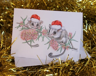 Australian Christmas Card with Koala family Mum Dad child