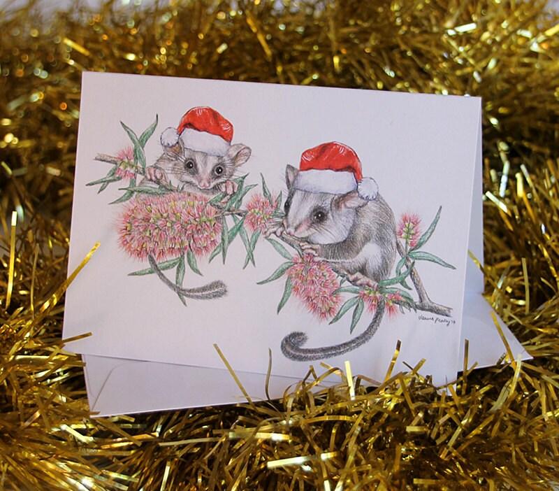 3 Christmas Cards Australian animals in Santa hats blank – Blank Xmas Cards