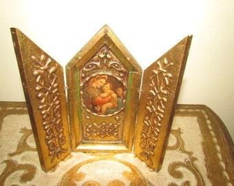 Antique Vintage Florentine Triptych Gold Gilt Gesso Wooden Madonna Italy Italian