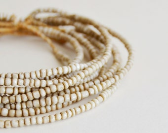 off white irregular old style pony trade beads size 6 seed bead (1 strand) African beads, bohemian beads,Spiritual Jewelry Making Supplies