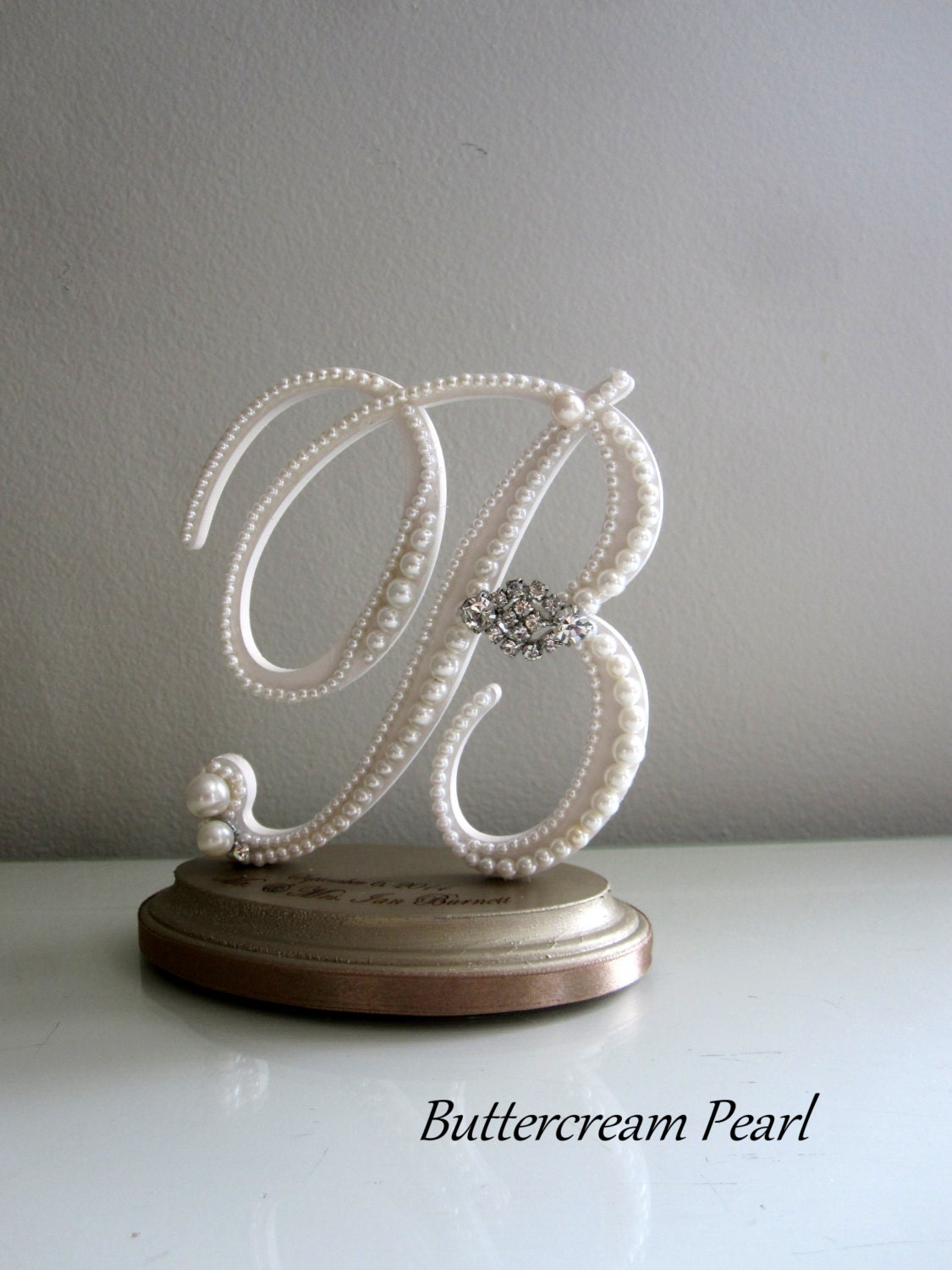 Custom Wedding Cake Topper White Monogram by ButtercreamPearl