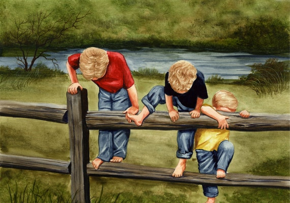 three little boys brothers painting