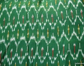 Green Cotton Ikat Fabric / Yarn Dyed Homespun Cotton Fabric Sold by Yard
