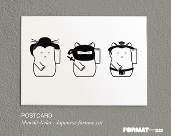 2 postcards - maneki neko // fortune cat