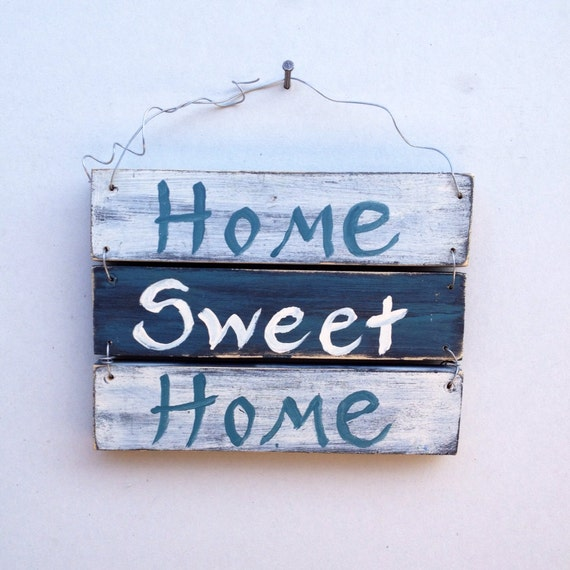 Repurposed Wood Home Sweet Home Sign with Steel Wire Hanger