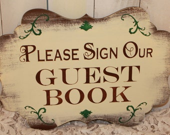 Wedding Sign Guest Book Sign/Please Sign Our/Photo Prop/U Choose Colors/Great Shower Gift/Brown/Ivory/Forest Green