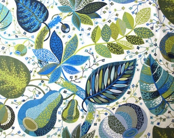 Curtain panel white green blue leaves Botanical Decor Cafe curtain Kitchen valance , also runner , napkins available, great GIFT