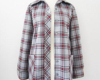 80s Tartan Plaid Grey Oversized Blazer by Montgomery Ward, S-M // Vintage Ice Grey Thin Light Jacket