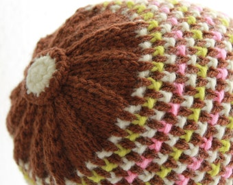 Hand Knit Cap Crochet Button Top Bright Speckles on Brown Women's Winter Fashion Wear Ready To Ship Hat
