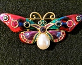 Stunning JOAN RIVERS Large Tear Shape Pearl Rich Multi Color Enamel & Bezel Set Rhinestone Crystal Butterfly Brooch Pin ~ Designer Signed