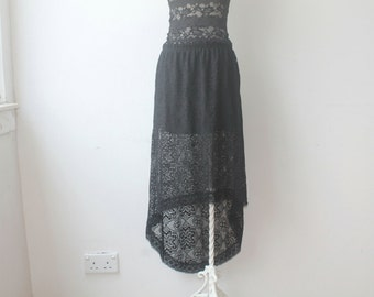 Black Lace Skirt, Hi Lo Skirt, Boho Gothic Skirt, Vintage