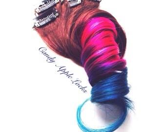 Hair Extensions, Dark Princess Clip in Ombre, Dip Dye,Human Hair Extension , Rainbow