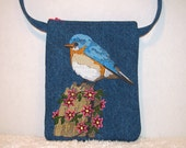 Eastern Bluebird Small Purse Embroidered Denim Long Strap - Womens Blue Bird Denim Shoulder Bag
