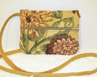 Small Purse Crossbody Floral Home Decor Fabric with Twill Strap - Camel, Gold, Brown, Green, Rose 3 Pocket Zippered Purse