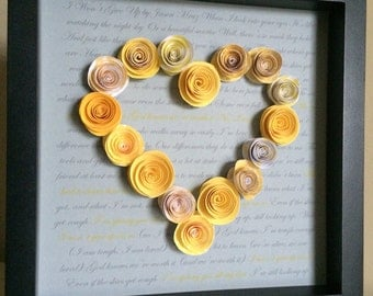 Song Lyrics, Speech, Story -3d Paper Art, with 3d paper roses, custom with your song, speech, story and colors, wedding or anniversary