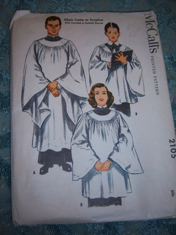 Choir Cotta or Surplice Vintage 1950s McCall's Sewing Pattern  2105  Size Small 8-12, All 6 Uncut/FF Pieces, Religious Garments