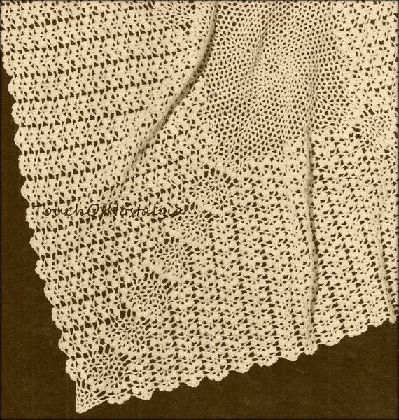 Crochet Baby Blanket Lace Pattern : Crochet LACY Baby SHAWL / Blanket Vintage Crochet Pattern