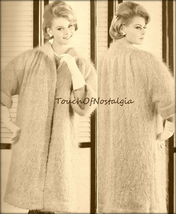 Mohair Dress Knitting Pattern : Items similar to Mohair DRESS COAT Knitting Pattern Vintage - Long Italian Mo...