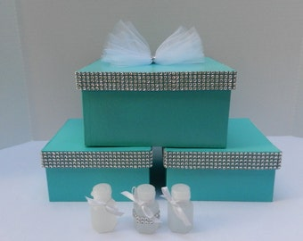 3 Wedding Boxes Blue Gift Box  Favor Box Accessory Boxes Aqua Blue