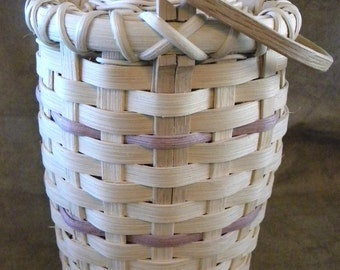 SALE  Sale Vintage 9 Inches  Tall Basket with Lid & Wood Handle, Mauve Basket Weave Stripe, 1980s, 80s