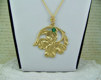 Gold Shamrock Necklace, Gold Clover Necklace, Good Luck Necklace, Irish Necklace, St. Patrick's Day Necklace, Emerald Necklace, Birthstone