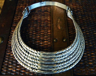 Eagle Breastplate Tribal Choker Necklace Vintage Miao Hmong gypsy ethnic bohemian jewelry