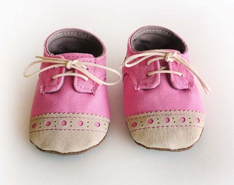 Baby Girl Shoes Bright Pink Canvas with Brogued Beige Leather Soft Sole Shoes Oxford Wingtips Wing tips