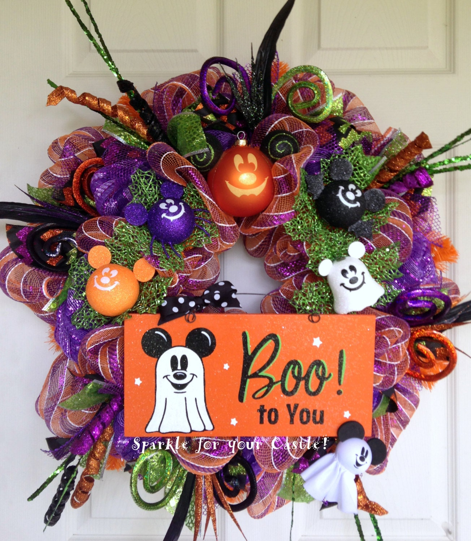 Decoration Halloween Disney : Disney halloween deco mesh wreath with mickey mouse ghost