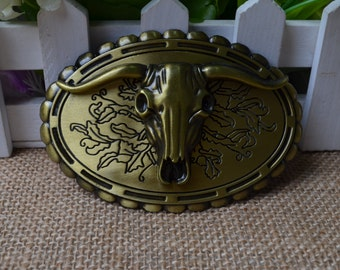 Men's Belt Buckle,Ox-head Belt Buckle,Oval Metal Belt Buckle,Cow head belt buckle,Punk Belt buckle,Bronze Belt Buckle,Best for gift