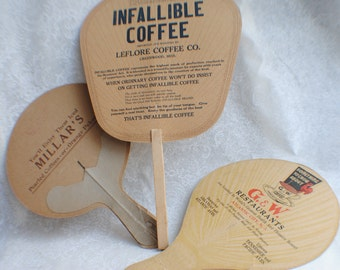 Set of 3 Coffee Vintage Advertising Fan/ Country Kitchen/Vintage Advertising