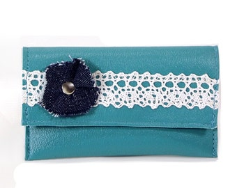Credit Card Wallet, Small Wallet, Lace & Flower Mini Wallet, Business Card Wallet, Business Card Holder, Womens Business Card Wallet, Blue
