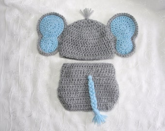 Newborn Elephant Photo Prop~Newborn Baby Boy Elephant Hat and Matching Diaper Cover Set~Crochet Elephant Hat~Photo Prop~Crochet Elephant Set