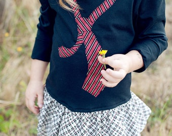 Necktie school tshirt toddler girl pdf pattern dress NECKTIE BOW