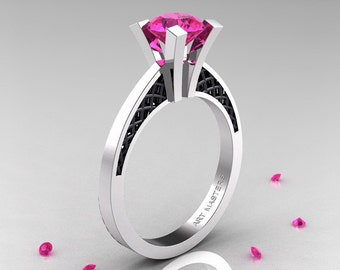 Modern Armenian 14K White Gold Black Gold Lace 1.0 Ct Pink Sapphire Solitaire Engagement Ring R308-14KWGBGPS