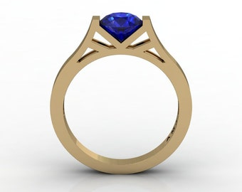 Modern 14K Yellow Gold 1.0 Ct Luxurious Engagement Ring or Wedding Ring with a Blue Sapphire Center Stone R667-14KYGBS