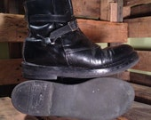 25% OFF // Men's Size 8.5 Black Leather Beatles Boots w/ Wrap Around Leather Strap