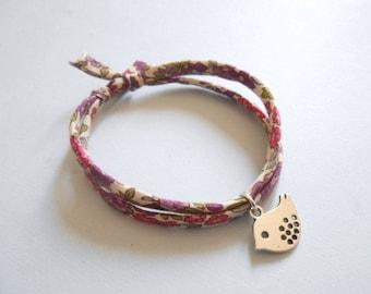 bird bracelet -silver bird bracelet - liberty cord strap - bird charm bracelet  - charm bracelet