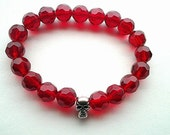 Beaded Stretch Bracelet- Red Beaded Bracelet with Skull- Stretch Bracelet- Halloween Bracelet