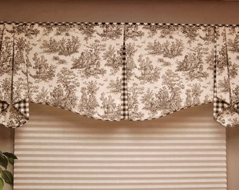 "Custom Valance MAISON Hidden Rod Pocket® Valance 30""- 44"" window, Custom made using your fabrics, my LABOR and lining"