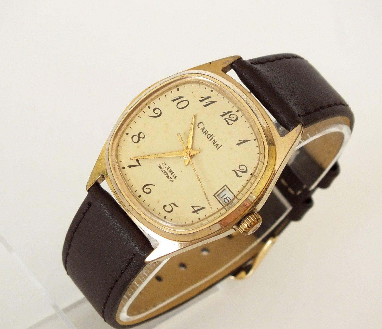 vintage montre homme or cardinal poljot plaqu montre bracelet. Black Bedroom Furniture Sets. Home Design Ideas