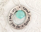 Love Washer | Pewter Necklace with Aqua Blue Chalcedony Briolette | Personalized Hand Stamped Jewelry | Engraved Necklace for Mom | Custom