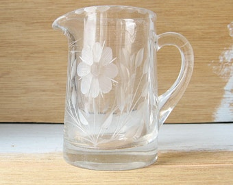 Etched glass creamer, small milk jug, floral glass server, small glass pitcher